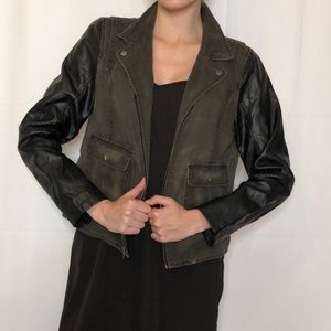 Army Jacket with Leather Sleeves